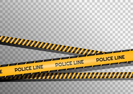 Creative vector illustration of black and yellow police stripe border. Set of danger caution seamless tapes. Art design line of crime places. Abstract concept graphic element. Construction sign. Illustration