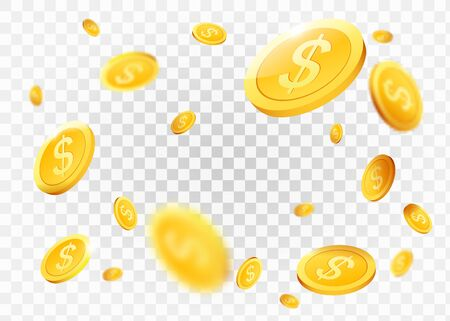 Realistic Gold coins explosion. Isolated on transparent background.