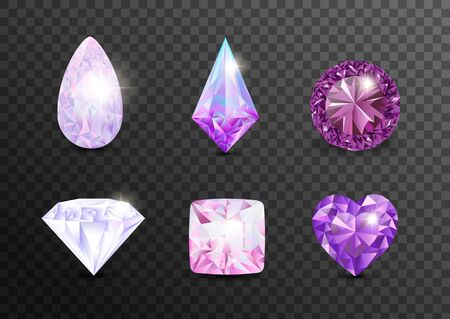 Precious stones and gems, jewelry. Rhinestone and brilliant, sapphire and amethyst, aquamarine and tourmaline, diamond and emerald, quartz and ruby jewels, agate. Vector illustration  jewelry gems