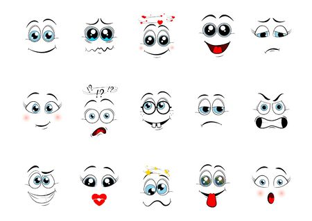 Cartoon expressions. Cute face elements eyes and mouths with happy, sad and angry, disbelief emotions. Cartoon eyes. Vector illustration