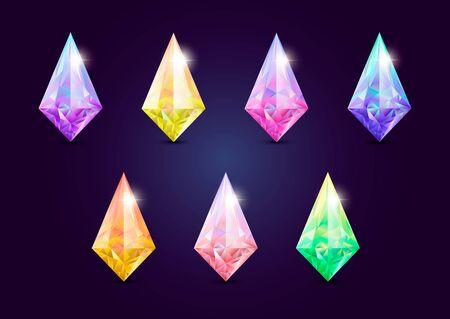 Set of  jewelry gems, stone for game. Vector illustration Ilustração