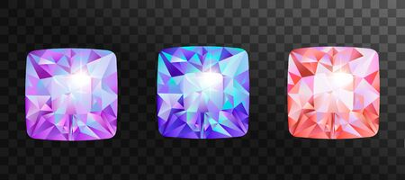 Set of jewelry gems, stone for game. Vector illustration