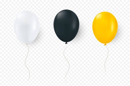 Yellow white and black balloon vector illustration on transparent background.