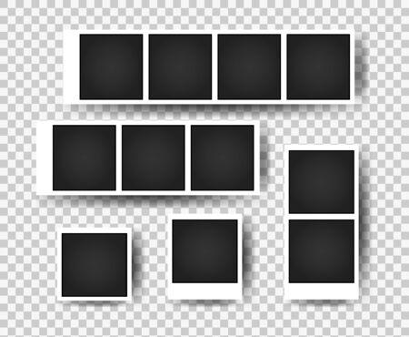 Realistic photo frames. Vintage empty photos frame. Images on wall, retro memory album. Vector template Ilustração Vetorial