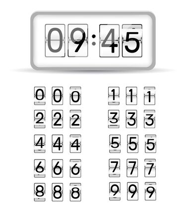 Countdown numbers flip counter vector isolated set. Retro style flip clock or scoreboard mechanical numbers 1 to 0 set white on black