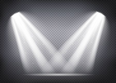 Scene illumination collection, transparent effects. Bright lighting with spotlights. Vector