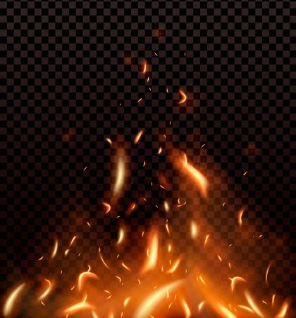 Red Fire sparks vector flying up. Burning glowing particles. Flame of fire with sparks in the air isolated on a black transparent background. Illustration