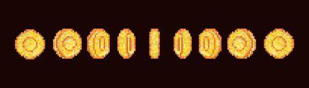 Pixel art gold coin animation. Gold coin animation frames for 16 bit retro video game. Pixel art vector set. Vektorové ilustrace