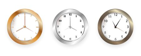 Set of realistic clock modern quartz wall clock on white background.