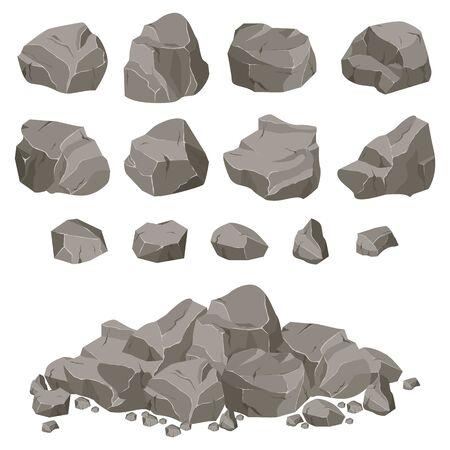 Ð¡colección de piedras de diversas formas. Piedras y rocas en estilo plano isométrico 3d. Ilustración de vector