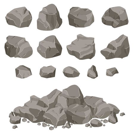 Ð¡ollection of stones of various shapes. Stones and rocks in isometric 3d flat style. Vecteurs