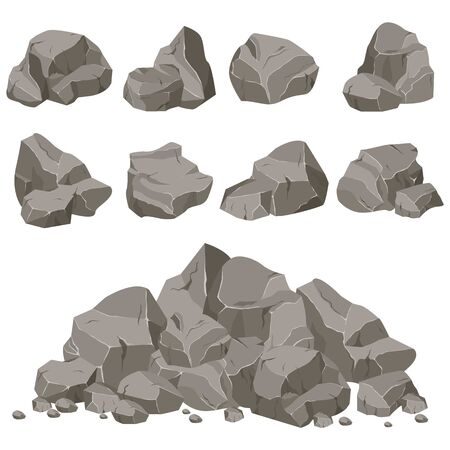 Set of stones of various shapes. Rocks and debris of the mountain. Huge block of stones.