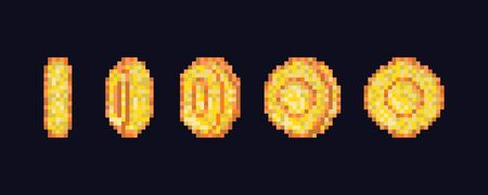 Pixel art coin step by step flipping animation. Pixel game coins animation. Golden pixelated coin animated frames Vektorové ilustrace