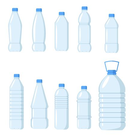 Collection of plastic water bottles. Healthy agua bottles vector illustration. Clean drink in plastic container Illustration