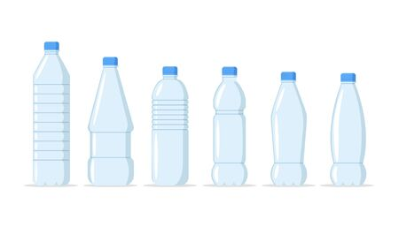 Plastic water bottles realistic set of large containers for cooler and small tare for retail sale. Healthy agua bottles vector illustration. Clean drink in plastic container Illustration