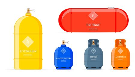 Gas cylinders. Butane helium acetylene propane metal tank cylinder petroleum station tools vector illustrations. Equipment for safe butane and propane, oxygen balloon illustration. Vectores