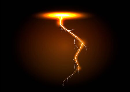 lightning bolt on transparent background. Thunder-storm and lightning. Magic and bright lighting effects. Vector Illustration