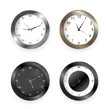 Realistic clock. Square and round metal and plastic office clocks.