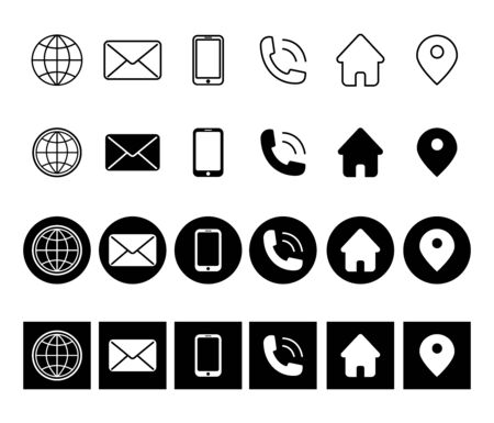 Simple set of communication line icon. Phone, mail, message, chat and more. Contacts thin outline icon set with rounded corners