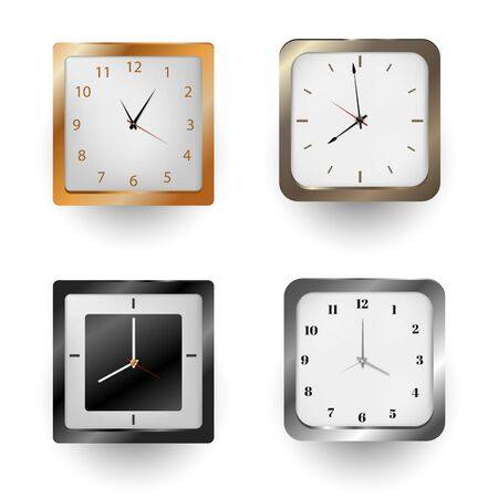 Realistic wall clock set. Watch isolated on white background 向量圖像
