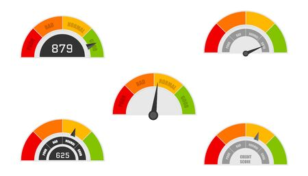 Credit score indicators with color levels from poor to good. Rating credit meter good and poor, indicator credit. Vector