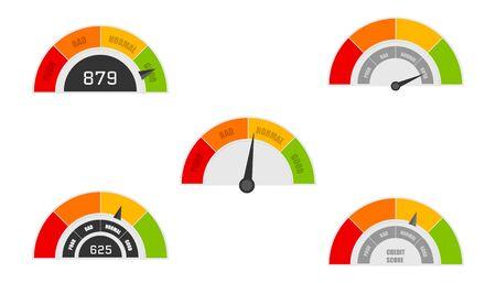 Indicadores de puntaje crediticio con niveles de color de pobre a bueno. Calificación del medidor de crédito bueno y malo, indicador de crédito. Vector