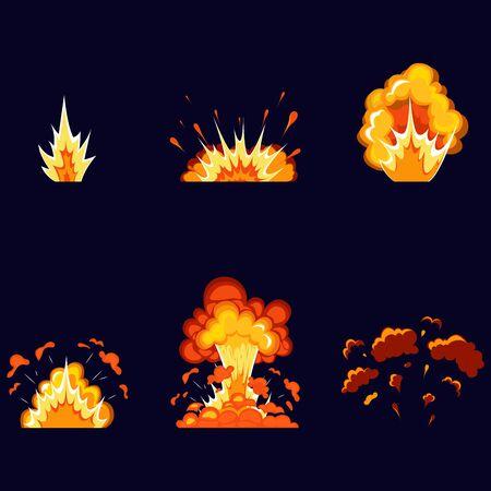 Efecto de explosión de dibujos animados con humo. Efecto boom, detonación de flash, bomba cómica. Explosiones de dinamita, explosiones explosivas de bombas y bombas atómicas, nubes, cómics. Ilustración de vector
