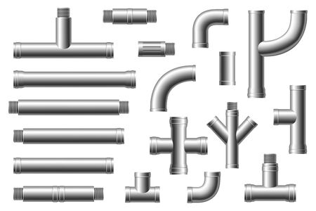 Chrome pipes with flange and screws. Different types collection of water tube. Industry gas valve Illustration