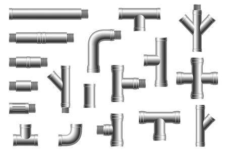 Rohrfittings aus Stahl. Wasser-, Kraftstoff- oder Gasversorgungssystem, Pipeline der Ölraffinerieindustrie, verschraubte Abschnitte mit Hausabwasser, isolierte Teile
