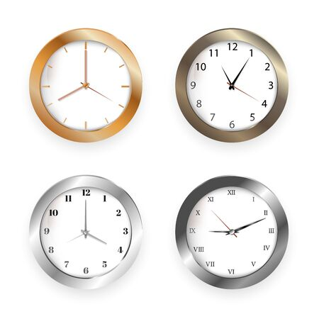 Set of realistic clock modern quartz wall clock on white background. Illustration