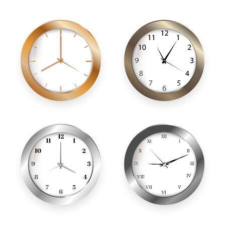 Set of realistic clock modern quartz wall clock on white background. Illustration