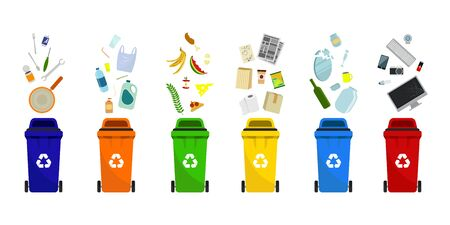 Plastic trash containers of different types. Separation of waste in trash bins. Sort waste for recycling. Garbage cans for paper, plastic, glass, metal, food waste and electronics.