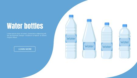 Website for water sale or delivery. Water bottle Banner. Healthy agua bottles vector.