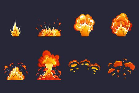 Boom effect. Cartoon explosion effect. Explosion effect with smoke, flame and particles. Dynamite, atomic bomb, smoke after the explosion. Vettoriali