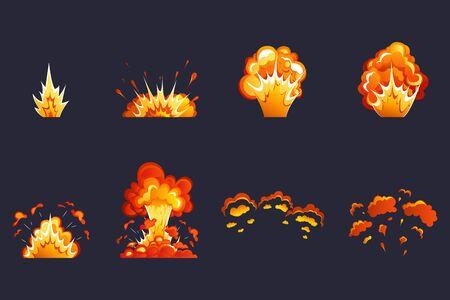 Effet boum. Effet d'explosion de dessin animé. Effet d'explosion avec fumée, flamme et particules. Dynamite, bombe atomique, fumée après l'explosion. Vecteurs
