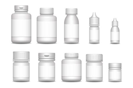 Empty pill containers. Medical Sprays. packaging for drugs: painkillers, antibiotics, vitamins and aspirin tablets.