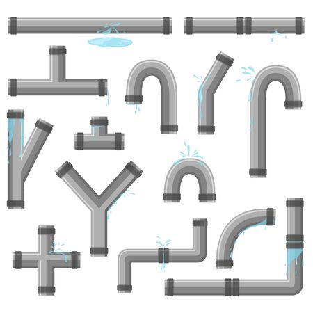 Pipe with leaking water. Broken pipes with leakage, plastic pipeline rupture. Collection of water tube, leakage, plastic pipeline, leaking valve, dripping drain. Industrial technology.