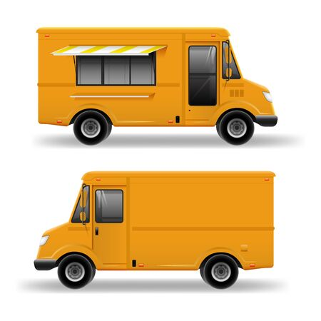 Yellow Food Truck Hi-detailed vector template for Mock Up Brand Identity. Realistic Delivery Service Van isolated on white background Иллюстрация