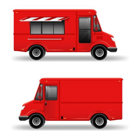 Red food truck vector mockup on white for vehicle branding, advertising, corporate identity.Side View Food Truck with City Landscape Ilustração