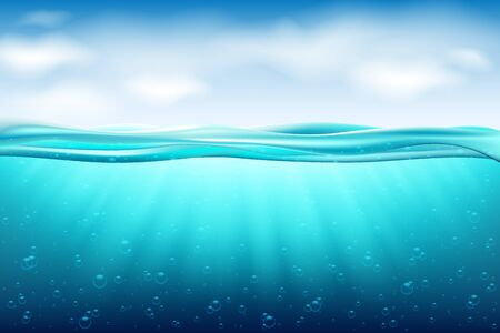 Sea landscape underwater space. Background with realistic clouds horizon water surface.Ocean deep water, sea under water level, sun rays blue wave horizon. Water surface 3D vector concept 向量圖像