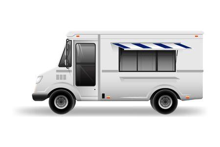 Maquette vectorielle de camion alimentaire pour la marque et la publicité de voiture. Camionnette de livraison pour le café de rue Brand Identity et la publicité pour le transport Fast-Food