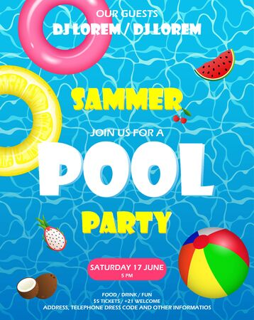 Pool party invitation. Colorful swimming ring, beach ball and letters float on crystal clean water with sunny highlights. Vector Illustration
