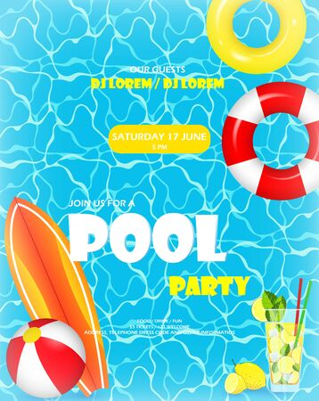 Pool party. Invitation template card. Top view of swimming pool with pool floats. Colorful swimming ring, beach ball and letters float on crystal clean water with sunny highlights Vettoriali