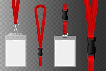 Template of id card for identification, plastic badge illustration. Id plastic cards. Blank identification badge, authentication security card tags with holder