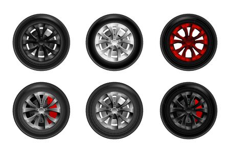 A collection of wheels for a car with brake discs. Ð¡ar wheel tyre set isolated vector illustration Illustration