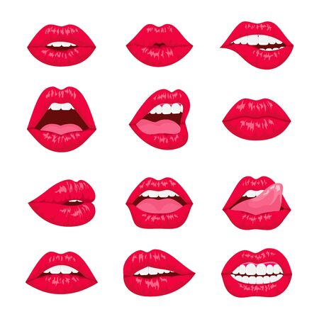 Red and rose kissing and smiling cartoon lips isolated decorative icons. woman lips with different emotions.
