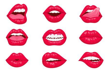 Conjunto de labios de mujer de arte pop. Boca sexy. Diseño de moda. Labios de dibujos animados sonrientes aislaron iconos decorativos para la presentación de la fiesta