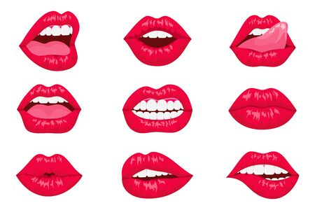 Pop art woman lips set. Sexy mouth. Fashion design. smiling cartoon lips isolated decorative icons for party presentation