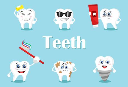 Cute teeth with different emotions set for label design.  Healthy white teeth and tooth with dental plaque socializing. Dentistry and dental whitening care clipart. Vettoriali