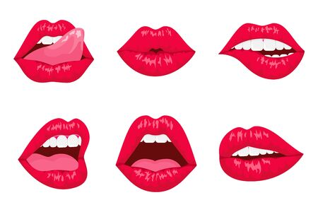 Red and rose kissing and smiling cartoon lips isolated. lips expressing different emotions, such as smile, kiss, half-open mouth, biting lip, lip licking, tongue out.